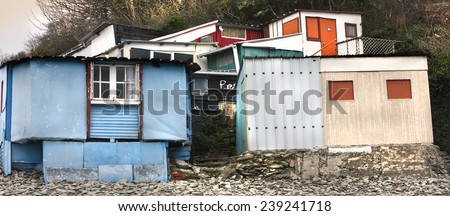 Colored fisherman's huts, on the coast.  - stock photo