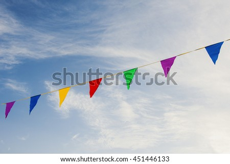 Colored flags in the sky