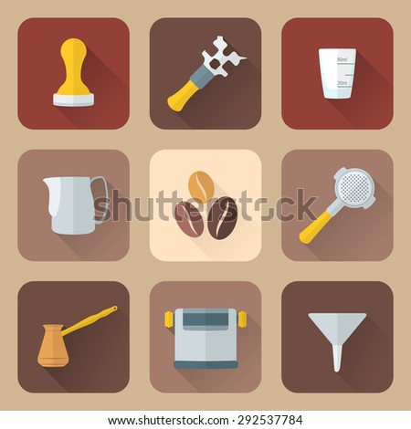 colored flat design coffee barista equipment icons set tools espresso tamper, coffee wrench, measuring glass, pitcher, coffee beans, filter holder, funnel, knockbox, turk coffee pot  - stock photo
