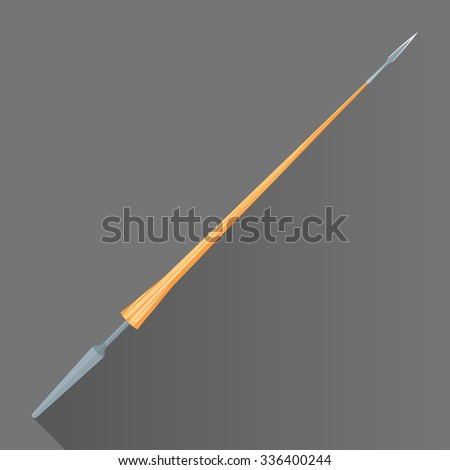 colored flat design metal sharp tip blade battle lance wood handle isolated illustration gray background long shadow  - stock photo