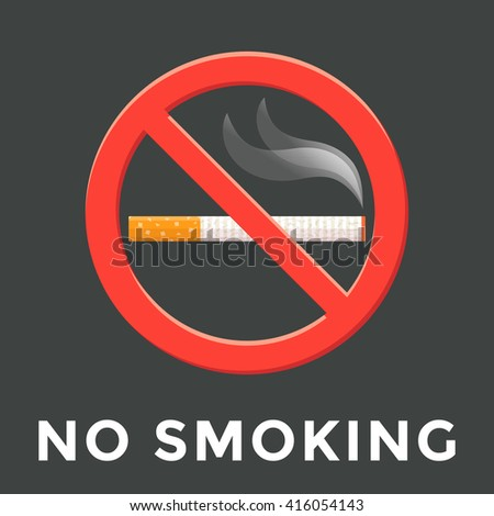 colored flat design no smoking warning sign isolated sticker illustration on dark background