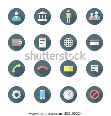 colored flat design round various social network icons set long shadow  - stock photo