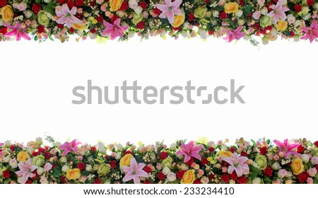 colored flower border with white background - stock photo