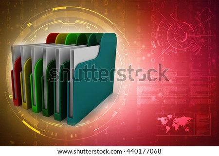 Colored folders. 3D rendering - stock photo