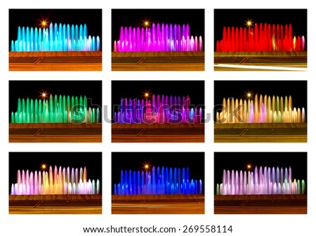 Colored fountains - stock photo