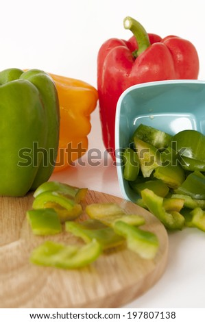 Colored Fresh Sweet Pepper Isolated on White Background.pepper, capsicum, yellow, green, red, white, sweet, close up, vegetable, bell pepper,healthy,obje cts, colorful,beautiful, fresh, food,freshness - stock photo