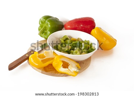 Colored Fresh Sweet Pepper Isolated on White Background.pepper, capsicum, yellow, green, red, white, sweet, close up, vegetable, bell pepper,healthy,obje cts, colorful,beautiful, fresh, food,freshness