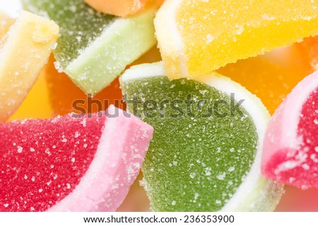 Colored Fruit Jelly Group Background - stock photo