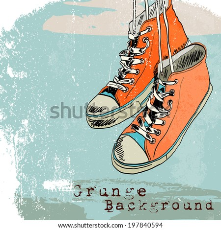 Colored funky hanging gumshoes skateboard fashion sneakers grunge style background  illustration - stock photo