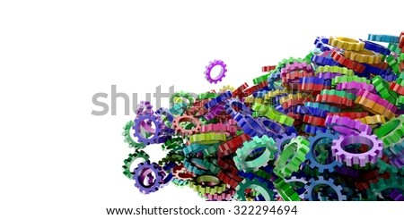 Colored gears background, technology and industry concepts