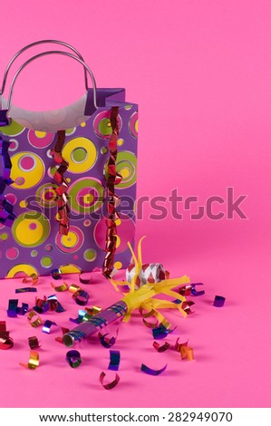 Colored gift Bag for Birthday Party - stock photo