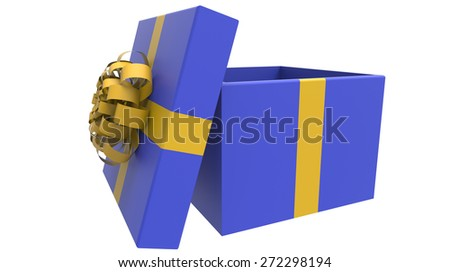 colored gift box in yellow and blue 3d render - stock photo