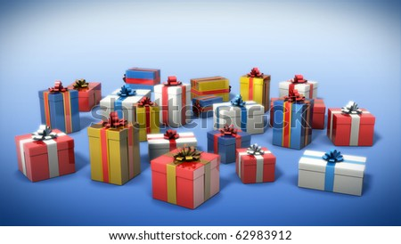 Colored gift boxes - stock photo