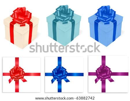 Colored gift boxes and ribbon . Photo-realistic vector. - stock photo