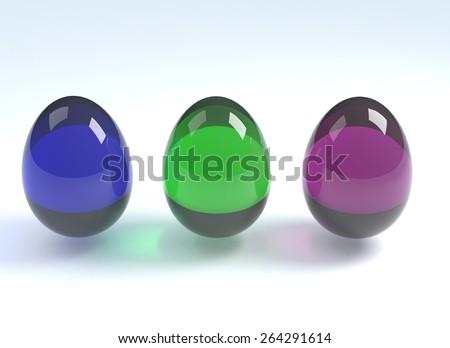 colored glass eggs - stock photo