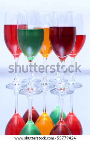Colored glasses arranged on a glass substrate