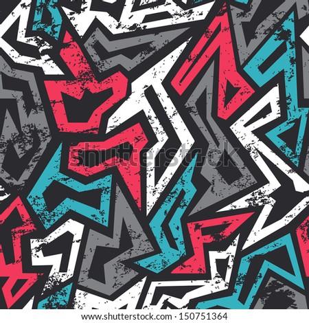 colored graffiti seamless pattern with grunge effect (raster version) - stock photo