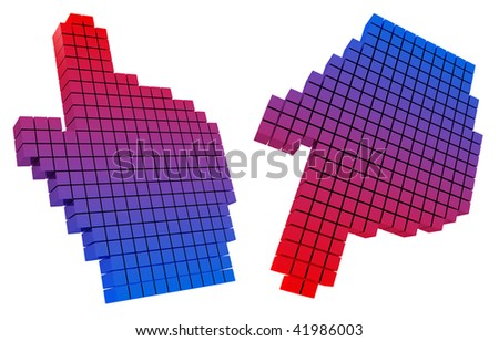 Colored hand cursor. Hight resolution 3D image. Red-blue gradient ramp. Isolated background. - stock photo