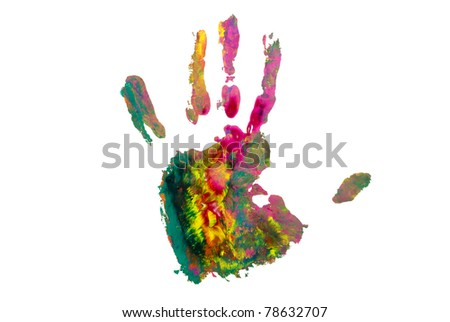 Colored hand on white background.