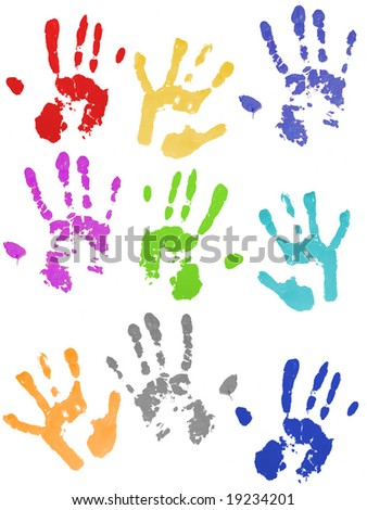 Colored hand prints on white ground - stock photo