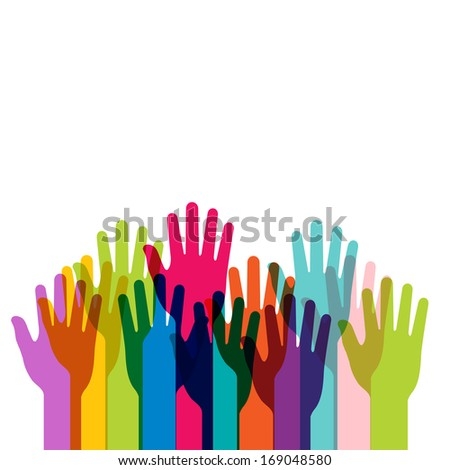 colored hands isolated on white -Illustration  - stock photo