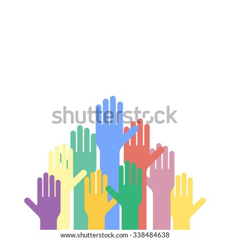 Colored hands raised up - stock photo