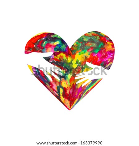 colored heart of the ink stains in the hands of . Raster - stock photo