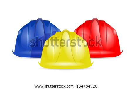 Colored helmets isolated on white background illustration design - stock photo