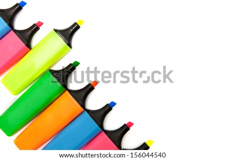 Colored highlighters set on white background. - stock photo