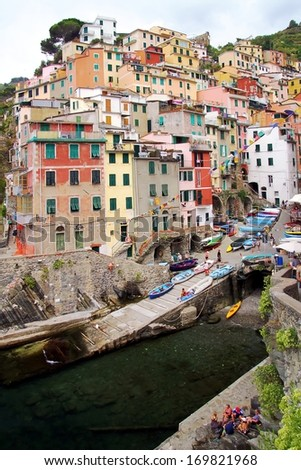 Colored houses and the small marina of Riomaggiore, Cinque Terre