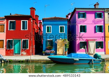 Colored houses in venetian city Burano, Italy