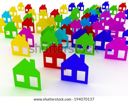 Colored houses isolated on white background, 3D images