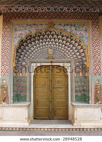 colored indian door - stock photo