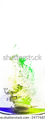 Colored ink abstract motion in water solution - stock photo