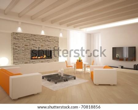 colored interior design - stock photo