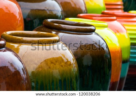 Colored jars Colored jars design handicraft design object design object design retro design interiors design decoration design
