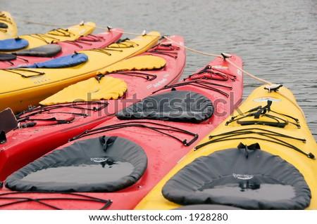 Colored Kayaks - stock photo