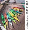 Colored kayaks on the beach in the Park Stockholm - Sweden - stock photo