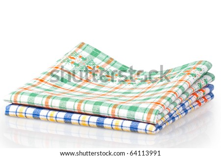Colored kitchen towels isolated on a white background