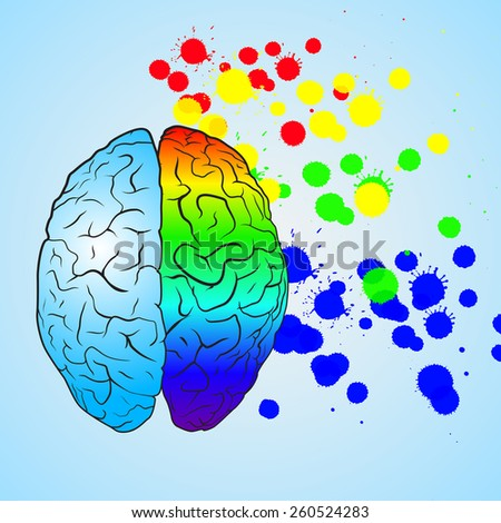 Colored left brain and right brain. Concept illustration