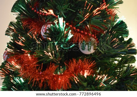 Colored Lights And Christmas Tree Decorations