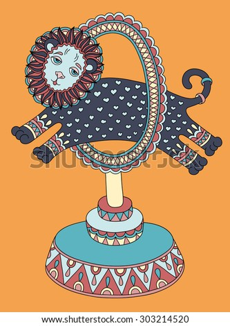 colored line art drawing of circus theme - a lion jumps through a ring, raster version illustration - stock photo