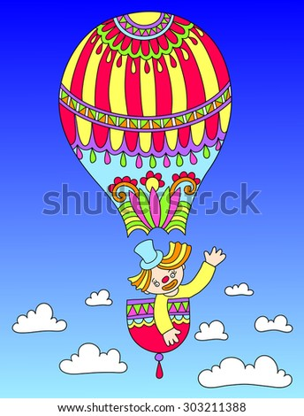 colored line art drawing of circus theme - clown in a balloon, raster version illustration - stock photo