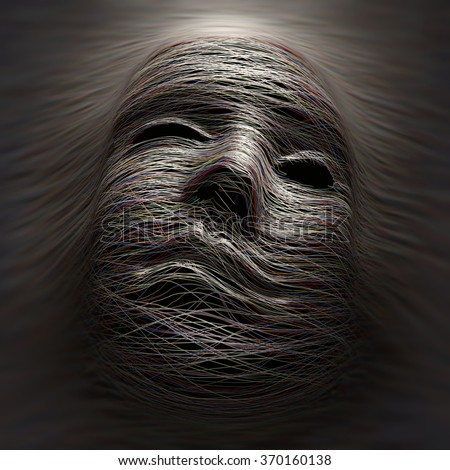 Colored lines covering an imaginary face with expression of pain and agony. - stock photo