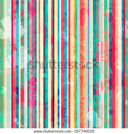 colored lines seamless pattern with blots effect (raster version) - stock photo