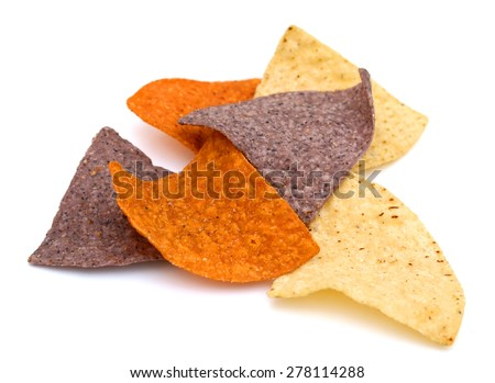 colored nachos chips isolated on white  - stock photo