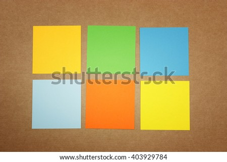 Colored notes on cardboard