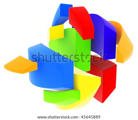 Colored objects isolated on white. 3d render