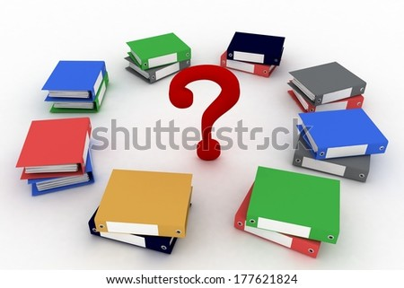 Colored office ring binders  with question-mark in a center. 3d illustration isolated on the white background. - stock photo