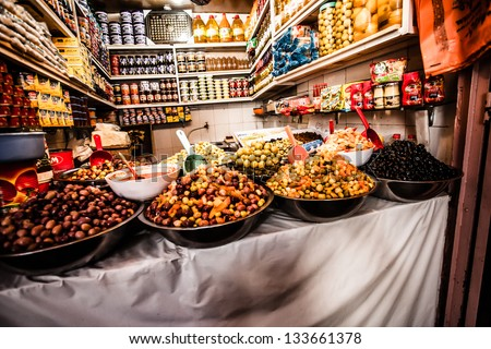 Colored Olives from Moroccan Market - stock photo